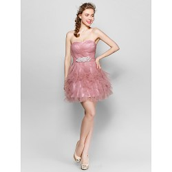 Knee Length Tulle Bridesmaid Dress Pearl Pink Ball Gown Sweetheart