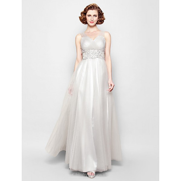A-line Plus Sizes / Petite Mother of the Bride Dress - Silver Floor-length Sleeveless Tulle Mother Of The Bride Dresses