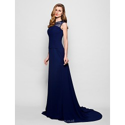 A Line Plus Sizes Petite Mother Of The Bride Dress Dark Navy Court Train Sleeveless Georgette Lace