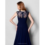 A-line Plus Sizes / Petite Mother of the Bride Dress - Dark Navy Court Train Sleeveless Georgette / Lace Mother Of The Bride Dresses