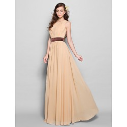 Floor-length Chiffon Bridesmaid Dress - Champagne Plus Sizes / Petite A-line Jewel