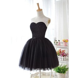 Knee Length Lace Tulle Bridesmaid Dress Black Ball Gown Sweetheart