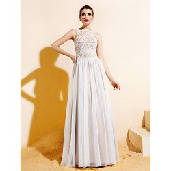 Floor-length Lace / Tulle Bridesmaid Dress - Ivory Plus Sizes / Petite A-line Bateau