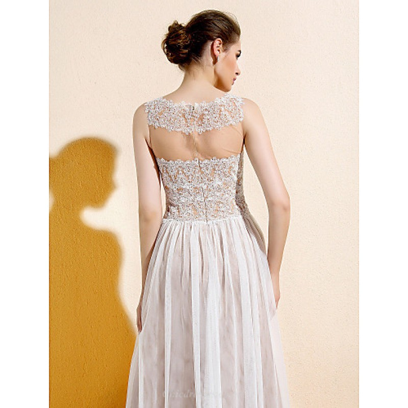 Floor length lace tulle bridesmaid dress ivory plus for Petite lace wedding dresses