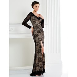 Sheath/Column Mother of the Bride Dress - Floor-length Long Sleeve Lace