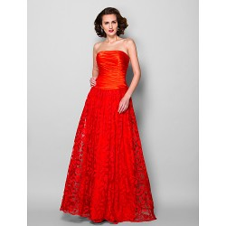 A line Plus Sizes Petite Mother of the Bride Dress Ruby Floor length Sleeveless Lace Stretch Satin