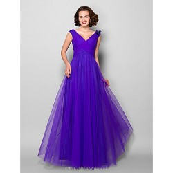 A-line Plus Sizes / Petite Mother of the Bride Dress - Regency Floor-length Sleeveless Tulle