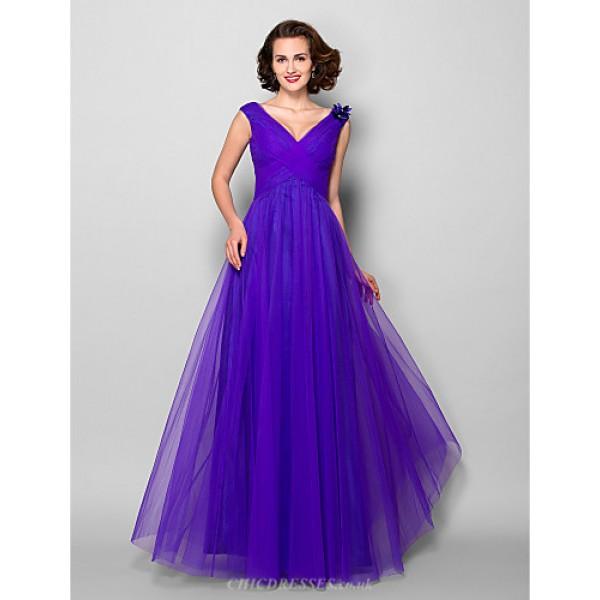 A Line Plus Sizes Petite Mother Of The Bride Dress Regency Floor Length Sleeveless Tulle