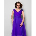 A-line Plus Sizes / Petite Mother of the Bride Dress - Regency Floor-length Sleeveless Tulle Mother Of The Bride Dresses