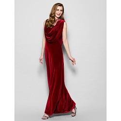 Sheath Column Plus Sizes Petite Mother Of The Bride Dress Burgundy Floor Length Sleeveless Velvet