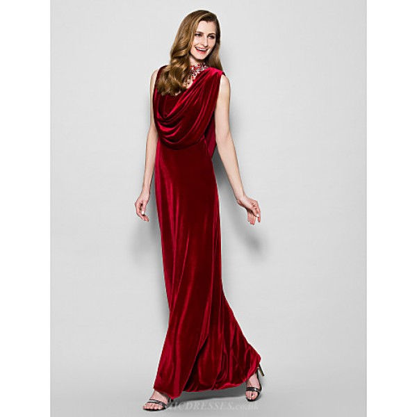 Sheath/Column Plus Sizes / Petite Mother of the Bride Dress - Burgundy Floor-length Sleeveless Velvet Mother Of The Bride Dresses