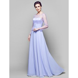 A-line Plus Sizes / Petite Mother of the Bride Dress - Lavender Floor-length Long Sleeve Chiffon / Tulle