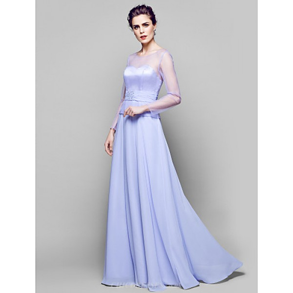 A-line Plus Sizes / Petite Mother of the Bride Dress - Lavender Floor-length Long Sleeve Chiffon / Tulle Mother Of The Bride Dresses