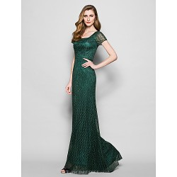 Sheath Column Plus Sizes Petite Mother Of The Bride Dress Dark Green Floor Length Short Sleeve Lace