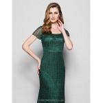 Sheath/Column Plus Sizes / Petite Mother of the Bride Dress - Dark Green Floor-length Short Sleeve Lace Mother Of The Bride Dresses