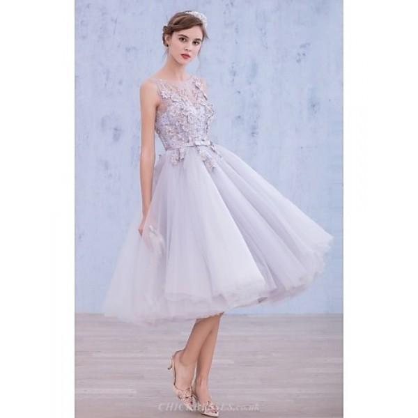 Cocktail Party Dress - Lavender A-line Bateau Tea-length Lace / Organza Special Occasion Dresses