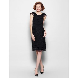 Sheath Column Plus Sizes Petite Mother Of The Bride Dress Black Knee Length Sleeveless Chiffon Lace