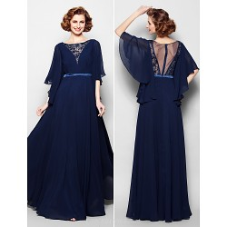 A Line Plus Sizes Petite Mother Of The Bride Dress Dark Navy Floor Length Half Sleeve Georgette Lace