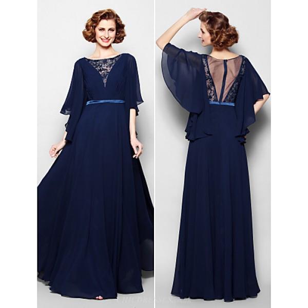 A-line Plus Sizes / Petite Mother of the Bride Dress - Dark Navy Floor-length Half Sleeve Georgette / Lace Mother Of The Bride Dresses