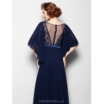 A-line Plus Sizes / Petite Mother of the Bride Dress - Dark Navy Floor-length Half Sleeve Georgette / Lace Mother Of The Bride Dresses