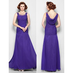 Sheath Column Plus Sizes Petite Mother Of The Bride Dress Regency Floor Length Sleeveless Chiffon