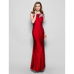 Sheath/Column Plus Sizes / Petite Mother of the Bride Dress - Burgundy Floor-length Sleeveless Jersey