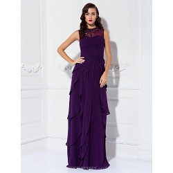 Sheath/Column Plus Sizes / Petite Mother of the Bride Dress - Grape Floor-length Sleeveless Georgette