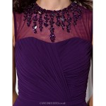 Sheath Column Plus Sizes Petite Mother Of The Bride Dress Grape Floor Length Sleeveless Georgette