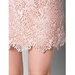 Sheath/Column Plus Sizes / Petite Mother of the Bride Dress - Pearl Pink Short/Mini Half Sleeve Lace Mother Of The Bride Dresses
