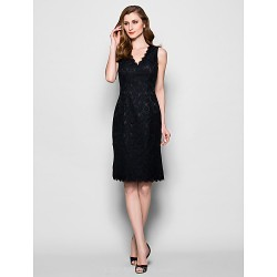 Sheath Column Plus Sizes Petite Mother Of The Bride Dress Black Knee Length Sleeveless Lace