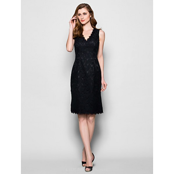 Sheath/Column Plus Sizes / Petite Mother of the Bride Dress - Black Knee-length Sleeveless Lace Mother Of The Bride Dresses