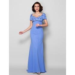 Sheath/Column Plus Sizes / Petite Mother of the Bride Dress - Lavender Sweep/Brush Train Short Sleeve Georgette