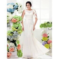 Floor Length Chiffon Bridesmaid Dress Ivory Plus Sizes Petite Sheath Column Bateau