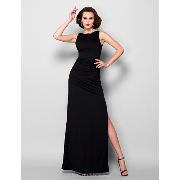 Sheath/Column Plus Sizes / Petite Mother of the Bride Dress - Black Floor-length Sleeveless Jersey Mother Of The Bride Dresses