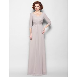 Sheath Column Plus Sizes Petite Mother Of The Bride Dress Silver Floor Length 3 4 Length Sleeve Georgette