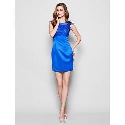 Sheath Column Plus Sizes Petite Mother Of The Bride Dress Royal Blue Short Mini Sleeveless Lace Satin