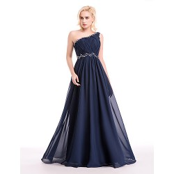 Cocktail Party Formal Evening Dress Dark Navy Ball Gown One Shoulder Floor Length Chiffon