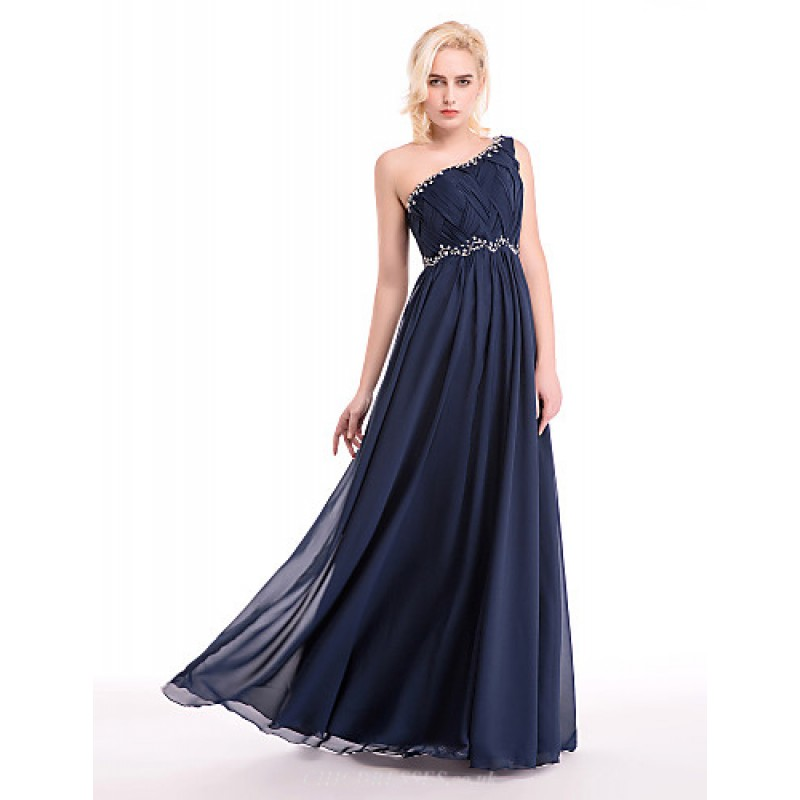 9f1d0393a268 ... Cocktail Party / Formal Evening Dress - Dark Navy Ball Gown One  Shoulder Floor-length ...