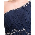 Cocktail Party / Formal Evening Dress - Dark Navy Ball Gown One Shoulder Floor-length Chiffon Special Occasion Dresses