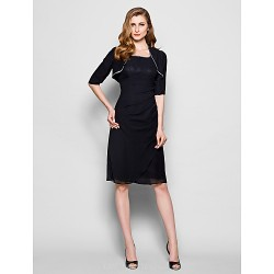 Sheath Column Plus Sizes Petite Mother Of The Bride Dress Black Knee Length Half Sleeve Chiffon
