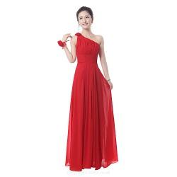 Dress Ruby Royal Blue Sheath Column One Shoulder Floor Length Cotton