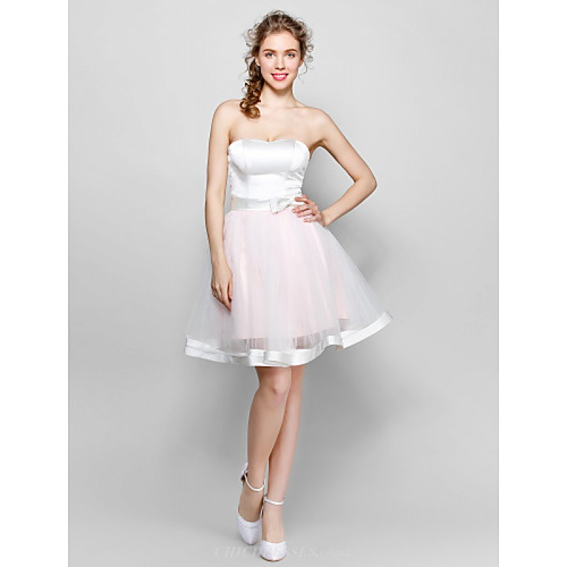 ca0f4c1f1ef Knee-length Tulle   Stretch Satin Bridesmaid Dress - White Ball Gown  Sweetheart Special Occasion