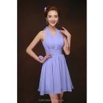 Short/Mini Bridesmaid Dress - Lavender Sheath/Column Halter Special Occasion Dresses
